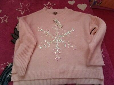 Girls River Island pale pink snowflake Christmas Jumper, Size 7-8