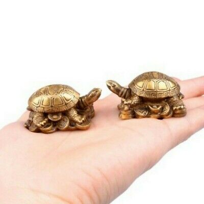 A Pair of Brass Turtle Chinese Fengshui Small Animal Ornaments Statue Cute Lucky