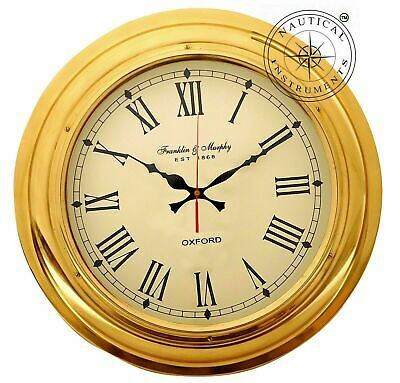 "17"" Nautical Brass Ships Wall Clock Made For Franklin & Murphy Beach House Decor"