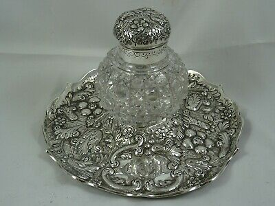STUNNING VICTORIAN silver INK STAND, 1887, 769gm