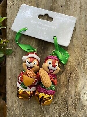 Disney Parks Chip N Dale 3D Bells Christmas Ornament Set New On Card