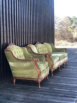 Antique French Provincial  2pc Sofa Set Sofa Set Green Victorian Mid Century