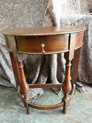 Antique Late 1800's Victorian Solid Oak Half Moon Console Table With 1 Drawer