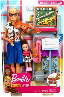 Barbie Music Teacher Doll Set, Blonde and Playset with Flipping Chalkboard