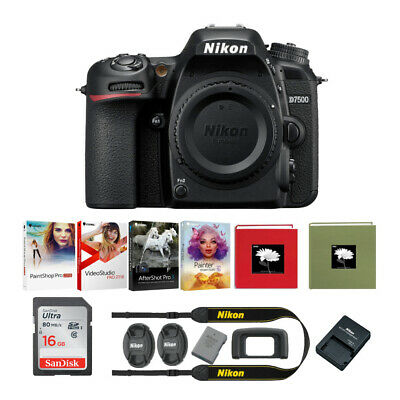 Nikon D7500 DX-Format DSLR Camera Body with 16GB Memory Card and Holiday Bundle