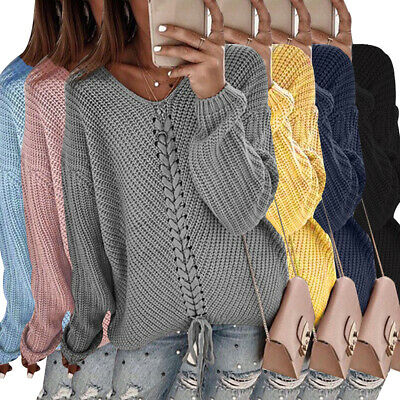 Womens Chunky Knitted Tie Up Sweater Ladies Long Sleeve V Neck Loose Jumper Tops