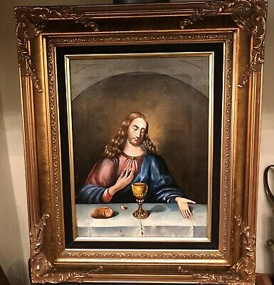 Large Antique Oil On Board - Jesus - 18th/19th Century