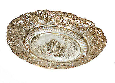 German Hanau 800 Silver Oval Centerpiece Bowl, circa 1900. Cherubs