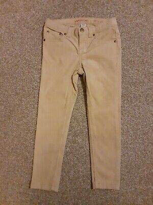 Lands'end Age 4 Skinny Girls Beige Cord Trousers