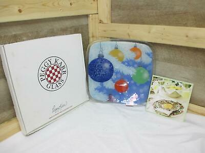 """KF7663 Peggy Karr WB12S 12"""" White Bough Square Fused Glass PLATE in BOX"""
