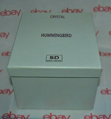 NEW SIMON DESIGN CRYSTAL HUMMINGBIRD Figurine BOX Paperweight STAMPED Large
