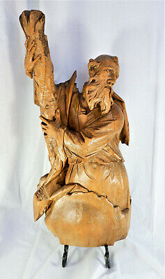 Large Antique German Wood Carved Santo Wall Hanging of St. Andrew 25""