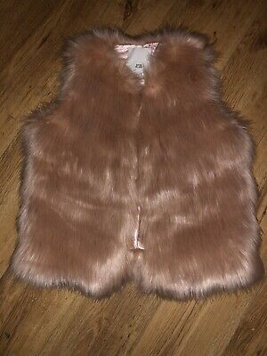 Girls River Island Pink/Peach Faux Fur Gilet Age 9-10 Years