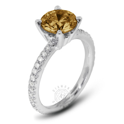 1.40ct tw Brown SI1 Round Natural Certified Diamonds Plat Classic Sidestone Ring