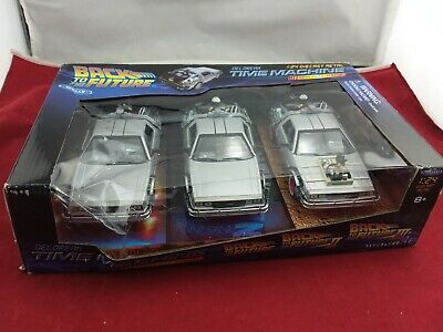 WELLY 1:24 DELOREAN TIME MACHINE BACK TO THE FUTURE TRILOGY PACK DIECAST 3 Pack