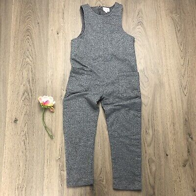 Seed Heritage Girls Overalls Jumpsuit Size 5-6 Grey Cotton EUC Z