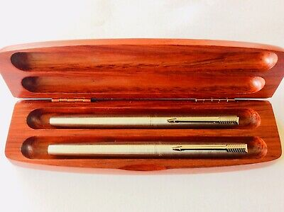 PARKER 2 X FOUNTAIN PENS FRANCE Brushed Stainless Boxed Never Used Condition