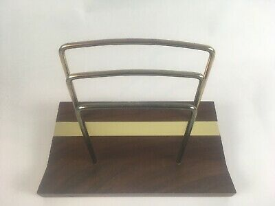 Small Vintage Mid Century Dark Cherry Wood Brass Napkin or Letter Holder MCM