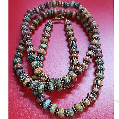 Wonderful old afghan glass & brass beads lovely necklace