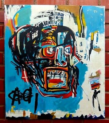 """Jean-Michel Basquiat Oil Painting On Canvas Selaed Rare 35"""" X 30"""""""
