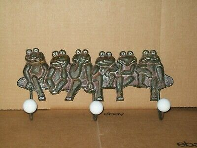 Cast Iron Frogs With 3 Robe/Towel/Coat Hooks