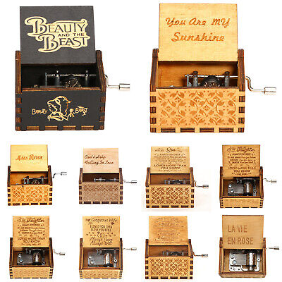Retro Exquisite Wooden Hand Cranked Music Box Home Crafts Ornaments Gifts Kits
