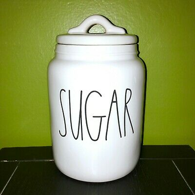 """New RAE DUNN Artisan Collection LL """"SUGAR"""" 7"""" Small Baby Canister By Magenta"""