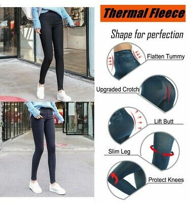 Womens Warm Fleece Lined Denim Pant Leggings Thermal High Waist Stretch Trousers