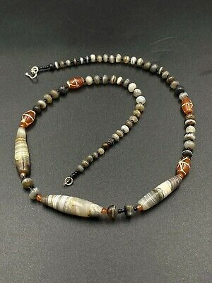 ANCIENT RARE INDO tIBETAN bANDED aGATE fACETED bEADS nECKLACE