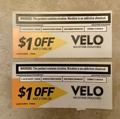 $1 OFF Any 2 Tins Of Velo Nicotine Pouches Coupon $2 Total Savings