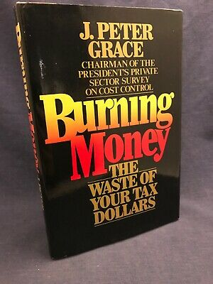 SIGNED 1984 BURNING MONEY J Peter Grace Waste Tax Dollars Government Jacket Rare