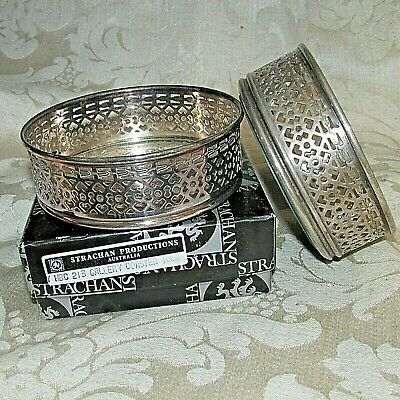 Vintage Strachan Silver Plate Wine Bottle GALLERY Coaster Holders X 2 Bar Dining