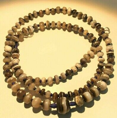 ANCIENT RARE INDO tIBETAN bANDED aGATE fACETED bEADS nECKLACEy