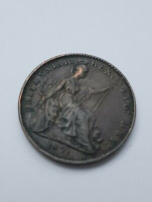 * 1821 rare TOP GRADE British antique FARTHING George IV colonial coin