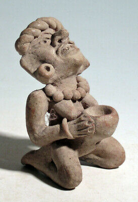 Pre-Columbian Mexico Toltec Seated Female Figure, 900 - 1200 AD. FREE SHIPPING