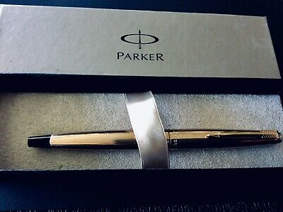 PARKER 45 INSIGNIA ROLLED GOLD Retro 1960's Boxed Fountain Pen Great Used