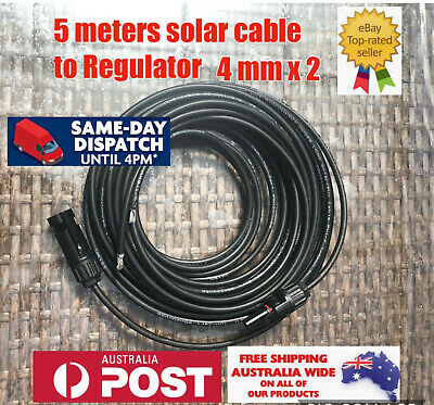 2x 5M Extension Cable Wire lead MC4 Connectors Solar Panel to regulator Cable