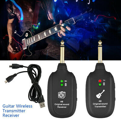 Wireless Electric Guitar Audio Transmitter Receiver Bass Violin USB Rechargeable