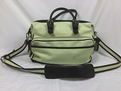 Levenger Leather And Canvas Weekend Messenger  Bag