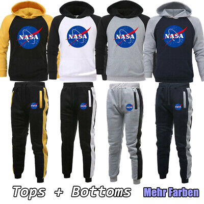 NASA Trainingsanzug Herren Splice Kapuzenpullis Hose Set  Jogging Sportanzug Neu