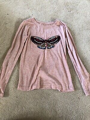 Girls Light Pink Butterfly Sequin Jumper by Next - Age  8