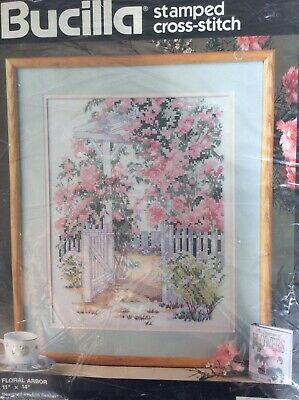 Floral Arbor Stamped Cross Stitch Kit By Bucilla