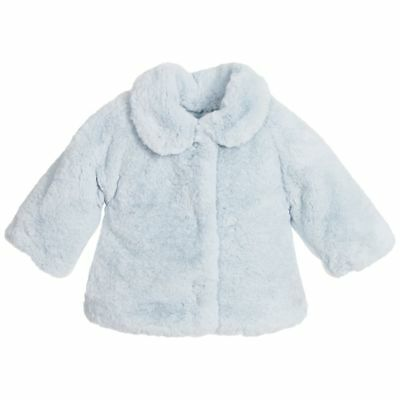 Monnalisa Bebe Baby Girls Padded Blue Synthetic Fur Jacket 36 Months