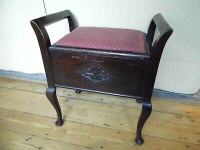 Antique Victorian solid mahogany piano stool with lift up seat for renovation