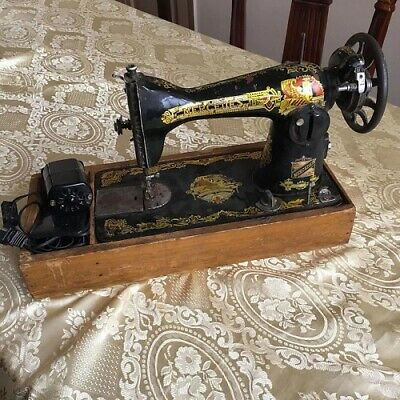 Rare Antique Mercedes Sewing Machine By Monocerus Black Gold Sphinx Color Good