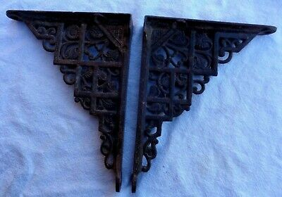 2 Old Antique Cast Iron Shelf Brackets Primitive Garden Rustic Ornate 4 x 5 inch