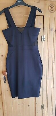 French Connection Black Body Con Dress Size 10 Sheer Panel Zip Detail FCUK scuba