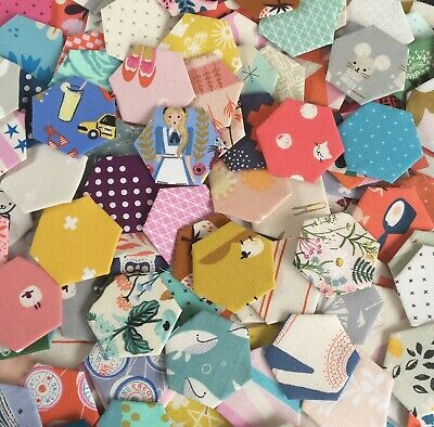 100 Fabric Tacked Hexagons - Cotton + Steel