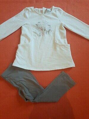 Girls Next Winter Woodland Animal Tunic Dress Leggings Outfit Set Age 2-3 Years