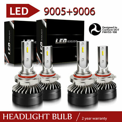 Mini Super Bright 9005 + 9006 Combo LED Headlight Kit High Low Fog Bulbs 6000K